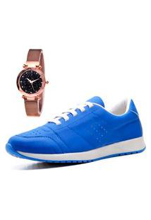 Tênis Sapatênis Casual City Com Relógio Gold Feminino Juilli 1102Li Azul