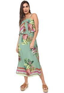 Vestido Mercatto Midi Floral Verde