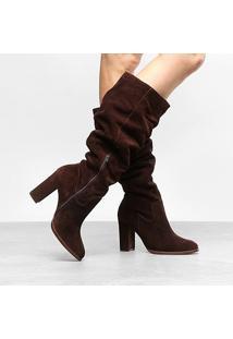 Bota Couro Slouch Shoestock Salto Grosso Feminina - Feminino
