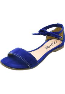 Sandália Rasteira Romântica Calçados Azul Royal