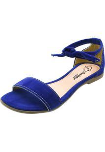 Sandã¡Lia Rasteira Romã¢Ntica Calã§Ados Azul Royal - Azul - Feminino - Dafiti