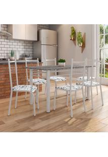 Conjunto De Mesa Granada Com 6 Cadeiras Lisboa Branco Prata E Branco Floral