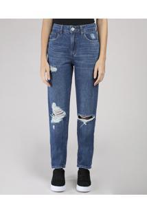 Calça Jeans Feminina Bbb Mom Vintage Com Rasgos Azul Escuro