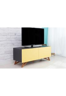 Rack De Tv Preto Moderno Vintage Retrô Com 2 Portas Amarela Freddie - 120X43,6X48,5 Cm