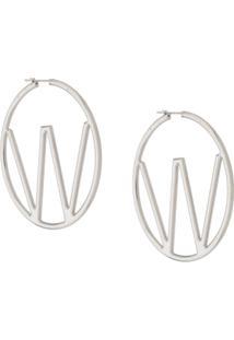 Off-White Silver-Tone Hoop Earrings - Prateado