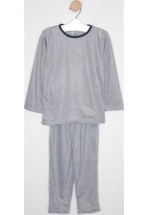 Pijama Em Mescla- Cinza & Azul Marinho- Zulaizulai