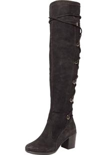 Bota Polo London Club Over Knee Fashion Preta