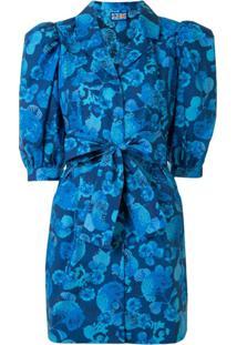 Lhd Vestido Com Mangas Balão - Azul
