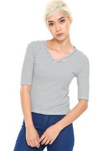 Blusa Fiveblu Listrada Branca/Azul