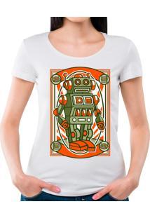 Camiseta Feminina Vintage Robot Geek10 - Branco