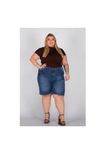 Bermuda Desfiada Almaria Plus Size Shyros Jeans Azul