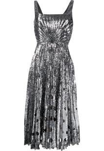 Marco De Vincenzo Sequin Midi Dress - Prateado