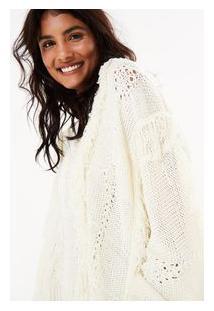 Sweater Franja Fita Areia