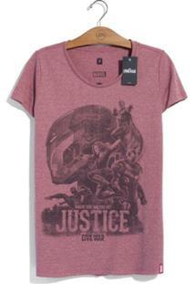 Camiseta Marvel Guerra Civil Justice Feminina - Feminino-Bordô