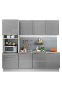 Cozinha Completa Madesa Lux Com Armário E Balcão 7 Portas 3 Gavetas Branco/Cinza Cor:Branco/Cinza