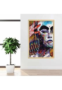 Quadro Love Decor Com Moldura Face Colors Madeira Clara Grande
