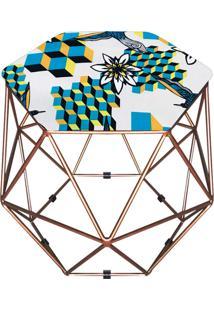 Puff D'Rossi Decorativo Aramado Geométrico Hexágono D23 Base Cobre