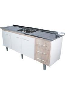 Gabinete De Cozinha Lyon 53X193,4Cm Branco E Madeirado Bonatto