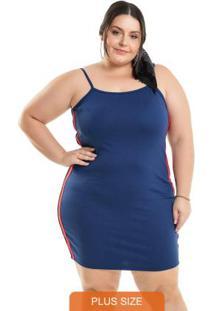 Vestido Com Faixas Sport Azul Miss Masy Plus