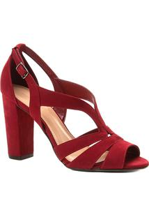 Sandália Shoestock Salto Grosso Nobuck Feminina - Feminino-Vinho