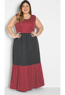 Vestido Longo Poá Com Recortes Plus Size