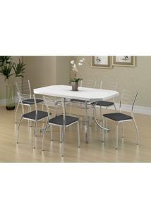 Mesa 1507 Branca Cromada Com 6 Cadeiras 1700 Preta Carraro