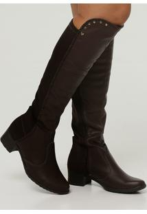 Bota Feminina Over The Knee Salto Grosso Mississipi