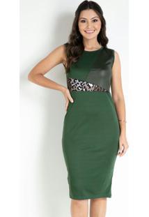 Vestido Com Recortes Verde Moda Evangélica
