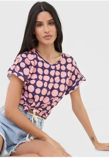 Camiseta Lança Perfume Poá Azul/Rosa