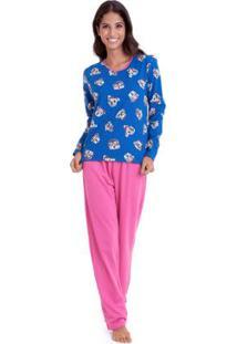 Pijama Longo De Moletinho Luna Cuore Feminino - Feminino-Rosa+Azul