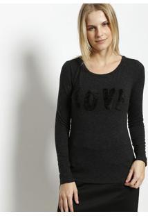 """Camiseta """"Love"""" Com Lã - Preta- Milioremiliore"""