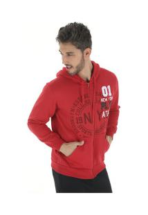 Jaqueta De Moletom Com Capuz Polo Us 18511 - Masculina - Vermelho