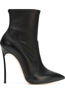 Casadei Ankle Boot 'Blade' De Couro - Preto