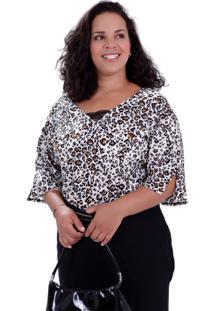 Blusa Brenda Onça Plus Size Vickttoria Vick Plus Size Preto