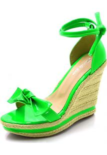 Sandália Anabela Flor Da Pele Verde Neon