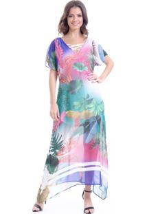 Vestido 101 Resort Wear Longo Estampado Folhas Coloridas