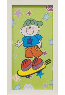 Quadro Montado Sem Vidro Infantil Skate 18X33Cm Branco