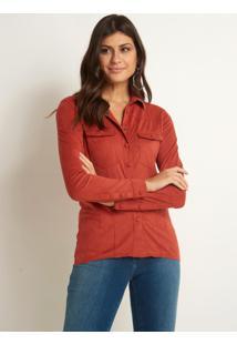 Camisa Le Lis Blanc Mel Suede Amber Laranja Feminina (Amber, 48)