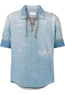Saint Laurent Túnica Jeans Com Efeito Destroyed - Azul
