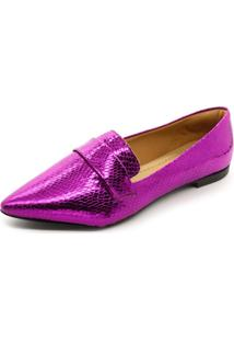 Mocassim Super Confort Bico Fino Metalizado Violet - Tricae