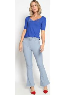 Blusa Com Renda & Recorte - Azul - Thiptonthipton