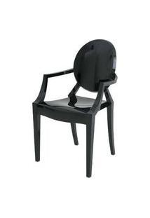 Cadeira Louis Ghost Com Braco Preto 93Cm - 62960 Preto