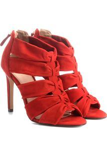 Sandália Couro Shoestock Salto Fino Faixas Feminina - Feminino-Laranja Escuro