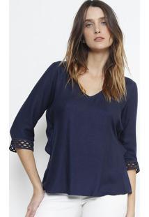 Blusa Texturizada Em Modal Com Recortes Vazados- Azul Mabobstore