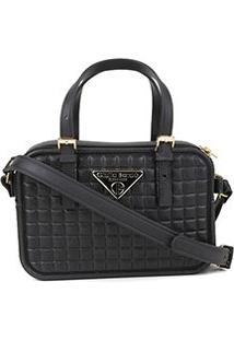 Bolsa Giulia Bardô Transversal Quadriculada Mini Bag Feminina - Feminino-Preto