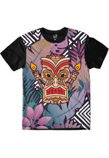 Camiseta Long Beach Totem Floral Luz Sublimada Colors - Masculino-Preto