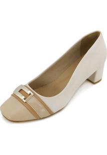 Sapato Lady Queen Am18-19008 Bege-Branco
