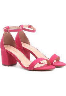 Sandália Couro Shoestock Salto Grosso Naked Feminina - Feminino-Pink