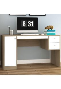 Mesa Para Computador 1 Porta 2 Gavetas Ho-2933 Avelã/Branco - Hecol