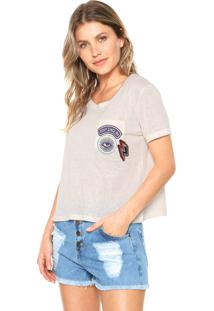 Camiseta Cropped Roxy Vintage Bordado Off-White